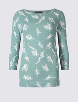 M&S Collection Pure Cotton Floral Print 3/4 Sleeve T-Shirt