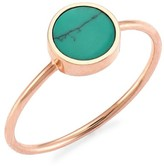 ginette_ny Mini 18K Rose Gold & Turquoise Disc Ring