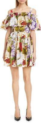 Dolce & Gabbana Floral Cold Shoulder Minidress