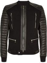 Balmain Contrast Sleeve Biker Jacket