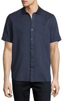 Fred Perry Flat Knit-Collar Short-Sleeve Oxford Shirt, Navy