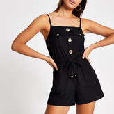 River Island Black button front beach playsuit