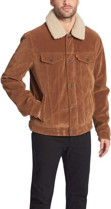 Levi's Men's Leather Sherpa Lined Trucker Jacket (Regular and Big and Tall Sizes)