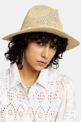 Topshop Natural Straw Cowboy Hat with Shells