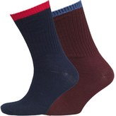 Fox & King Mens Two Pack Boot Socks Burgundy