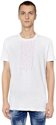 DSQUARED2 Cotton Jersey T-Shirt W/ Ruffled Details