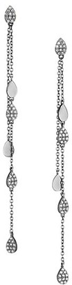 Nina Gilin Black Rhodium-Plated & Diamond Disc Chain Drop Earrings