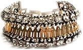 Line & Dot Dot & Line Authentic gold tone crystal beaded buckle belt bracelet