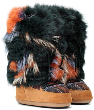 Yves Salomon Army x Moon Boot fur ankle boots