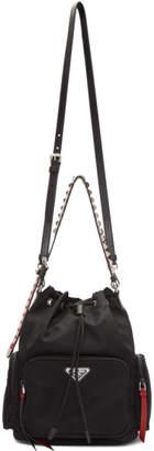 Prada Black Nylon Studded Bucket Bag