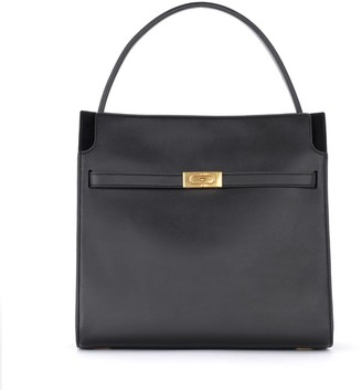 Tory Burch Lee Radziwill Double Shoulder Bag In Black Leather