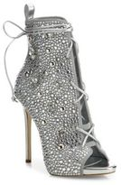 Giuseppe Zanotti Giuseppe for Jennifer Lopez 110 Crystal-Embellished Suede Lace-Up Booties