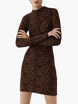 Warehouse Leopard Print Funnel Neck Dress