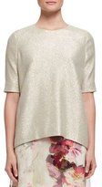 Lanvin Shimmery Half-Sleeve Top, Water Green