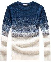 QZUnique Men's Classic Crewneck Pullover Sweater Gradient Color 3XL
