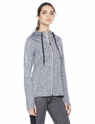 Equipment Due East Apparel Women's Light Weight Sports Jacket Performance Track Full Zip Workout Hoodie Silver Gray Large