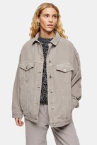 Topshop Womens Considered Grey Corduroy Super Oversized Jacket With Recycled Cotton - Grey