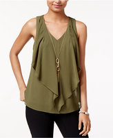 Amy Byer Juniors' Cutout Ruffled Necklace Tank Top
