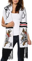 Ed Hardy Skull/Sword Rectangle Knit Scarf - Off White