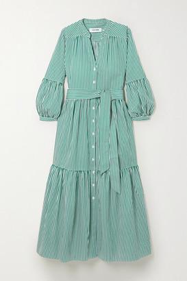 Cefinn Alice Belted Striped Cotton-poplin Midi Dress