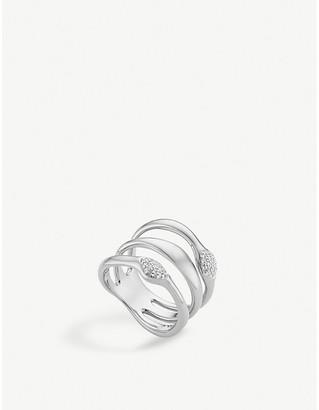 Monica Vinader Nura Teardrop multi band sterling silver and diamond ring