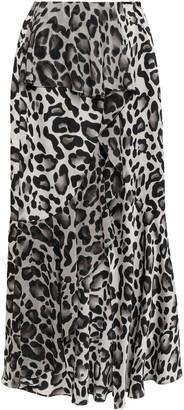 GOEN.J Ruffled Leopard-print Chiffon Midi Skirt