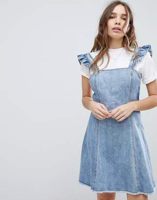 Only cami ruffle denim mini pinafore dress-Blue