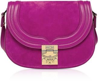 MCM Trisha Viva Lilac Suede And Leather Small Shoulder Bag