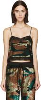 Ashish Green & Black Sequined Camo Camisole