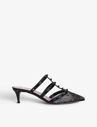 Valentino Rockstud kitten-heel leather mules