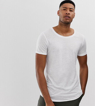 Asos Design DESIGN Tall longline t-shirt with scoop neck and curved hem in linen-White