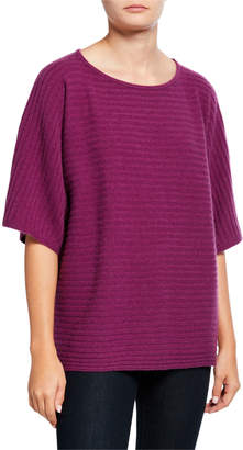Neiman Marcus Cashmere Ribbed Elbow-Sleeve Boat-Neck Poncho