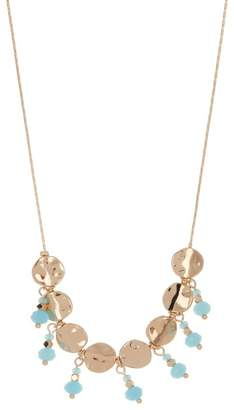 Stephan & Co Metal & Bead Drop Frontal Necklace
