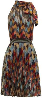 Missoni Pleated Skirt Chevon Patterned Knitted Dress - Womens - Multi
