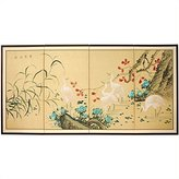 Oriental Furniture Huge Large Asian Wall Art, 6-Feet Geese in Water Japanese Style Sumi-E Oriental Folding Screen Painting, 36 by 72-Inch