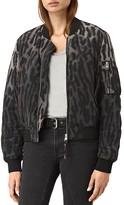 AllSaints Sinai Leopard Print Silk Bomber Jacket
