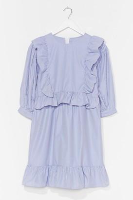 Nasty Gal Womens We're Frill Here Puff Sleeve Mini Dress - Blue - 8, Blue