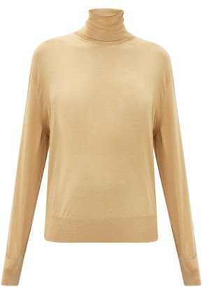 The Row Andrett Fluted-cuff Cashmere Roll-neck Sweater - Camel
