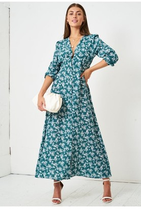 Paper Dolls Love Frontrow Floral Ditsy Empire Waist Maxi Dress | Green