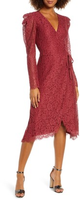Ali & Jay Hollywood Heights Long Sleeve Lace Wrap Dress