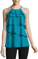 WORTHINGTON Worthington Sleeveless Tierd Ruffle Tank Top