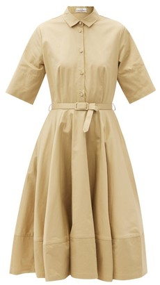 Co Belted Cotton-sateen Shirt Dress - Beige