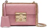 Gucci Padlock Small Embossed Leather Shoulder Bag - Antique rose