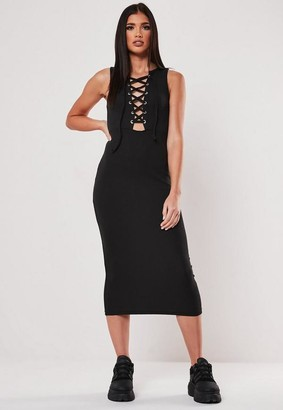 Missguided Black Rib Lace Up Bodycon Midi Dress