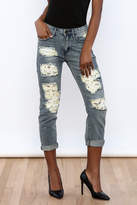 Machine Jeans Lace Cut Off Boyfriend Jeans