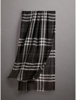 Burberry Lightweight Check Wool and Silk Scarf, Black