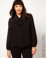 Asos Blouse With Pussy Bow And Pleated Sleeve
