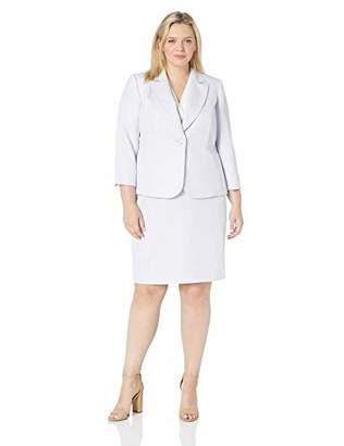 Le Suit Women's Plus Size 1 Button Notch Collar Novelty Skirt Suit