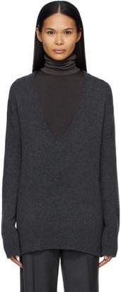 The Row Grey Cashmere Baudelia V-Neck Sweater