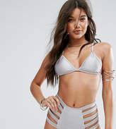 And Co Satin Rib Strappy Bralette Bikini Top